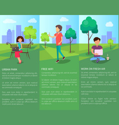 free wi-fi in urban park with people working vector image