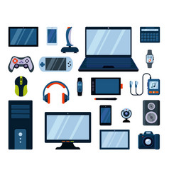 Gadgets electronic large set powerful laptop vector