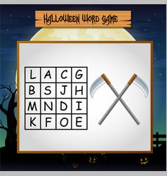 Game helloween find the word of sickel vector