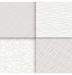 Geometric doodle seamless patterns set vector image