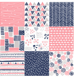 geometric hand drawn digital papers patterns vector image