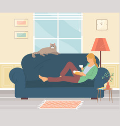 girl drinking tea and reading book on couch at vector image