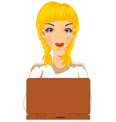 girl for computer vector image