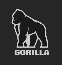 Gorilla monochrome logo on a dark background vector