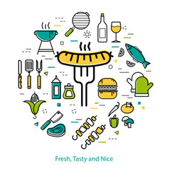 Grilled sausage on fork - round concept vector