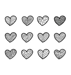 hand drawn hearts on white background vector image