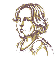 Hand-drawn portrait of white-skin pensive woman vector