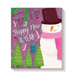 happy new year snowman trees gift sock decoration vector image