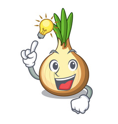 Have an idea fresh yellow onion isolated on mascot vector