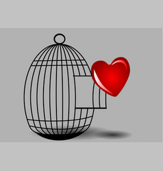 Heart and cage vector