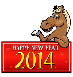 Horse with New year Sign vector image vector image