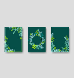 invitation cards with herbal twigs and branches vector image