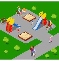 Isometric city city park with children playground vector