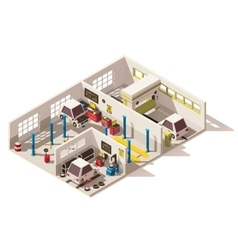 Isometric low poly car service center vector