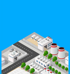 Landscape industrial objects plant factories vector
