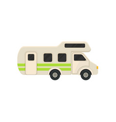 large camper van with bright green stripes vector image