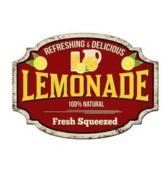 lemonade vintage rusty metal sign vector image