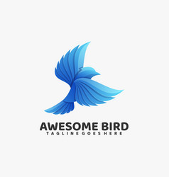 logo awesome bird gradient colorful style vector image