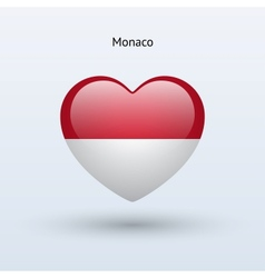 Love Monaco symbol Heart flag icon vector