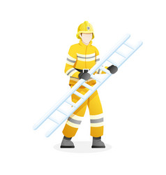 male firefighter carry stair vector image