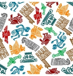 Mayan and aztec tribal totems seamless pattern vector