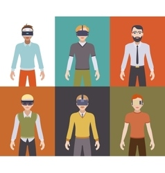 Men in the virtual reality headsets vector image