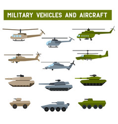 military tanks and helicopters vector image