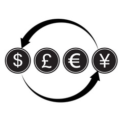 money convert icon euro dollar flat design style vector image