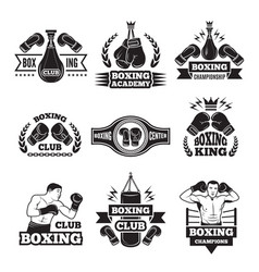 monochrome labels set for boxing championship vector image vector image