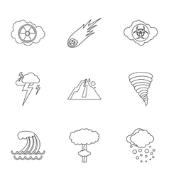 Natural cataclysm icons set outline style vector image