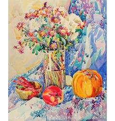 Original watercolor still life with flowers vector
