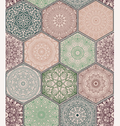 pattern in style of colorful floral patchwork vector image