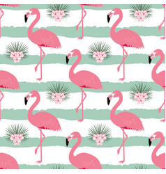 Pattern with stripes and flamingos vector