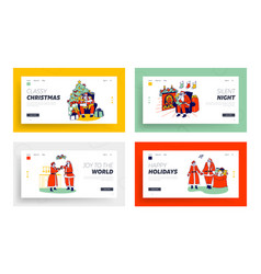 people writing letters to santa mr and mrs claus vector image