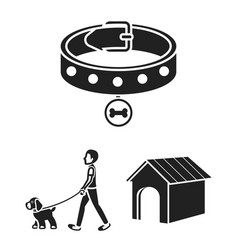 pet dog black icons in set collection for design vector image