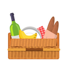 picnic basket with food set vector image