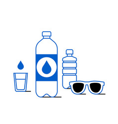 Plastic bottle and sunglasses icon vector