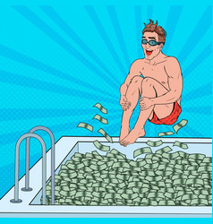 Pop art happy man jumping to the pool of money vector