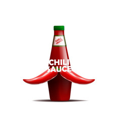 realictic bottle of chili sauce with a mustache vector image