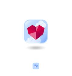 red gem heart crystal logo sky clouds vector image