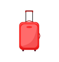red travel bag or suitcase vector image