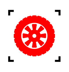 Road tire sign red icon inside black vector