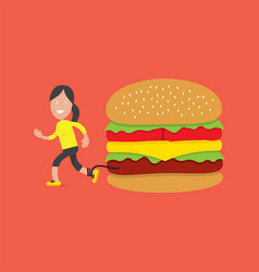 running woman with hamburger health concept vector image