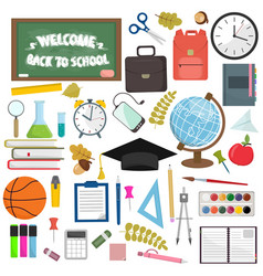 School and education workplace items flat vector