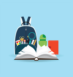 school bag with education objects vector image vector image