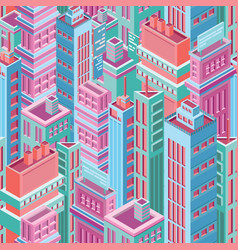 seamless pattern with tall isometric city vector image