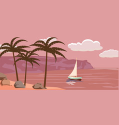 seascape sailboat palm trees vector image