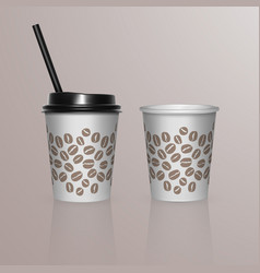 set of coffee cup - mockup template for cafe vector image