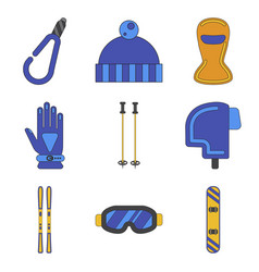 Set of icons in flat design winter sports outfit vector