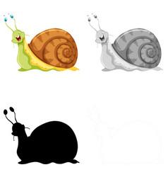 set snail character vector image